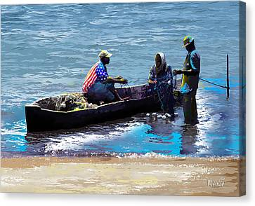 Canvas Print featuring the painting Repairing The Net At Lake Victoria by Anthony Mwangi