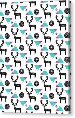 Repeat Print - Folk Deer Canvas Print by Susan Claire