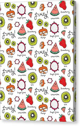 Repeat Print - Fruits Canvas Print by Susan Claire