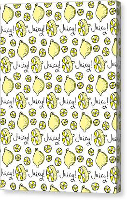 Repeat Prtin - Juicy Lemon Canvas Print by Susan Claire