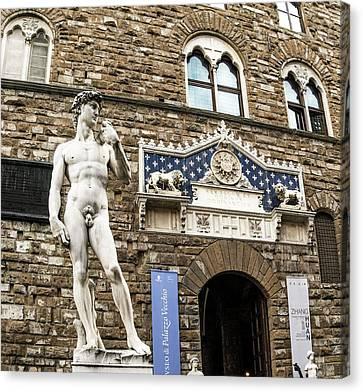 David And Goliath Canvas Print - Replica Of Michelangelo's David by Brian Gadsby