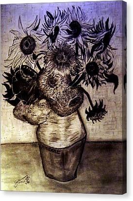Replica Of Vincent's Still Life - Vase With Twelve Sunflowers Canvas Print by Jose A Gonzalez Jr