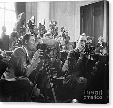 Reporters Filming Law Hearings, 1939 Canvas Print by Library Of Congress