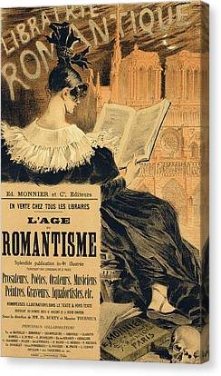 Reproduction Of A Poster Advertising A Book Entitled The Romantic Age Canvas Print by Eugene Grasset