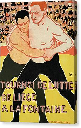 Reproduction Of A Poster Advertising A Wrestling Tournament Canvas Print by Armand Rossenfosse