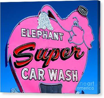 Elephant Super Car Wash Sign Seattle Washington Canvas Print