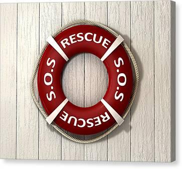 Rescue Lifebuoy Canvas Print by Allan Swart