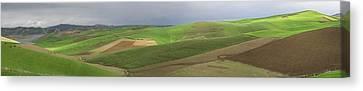 Reservoir And Green Fields Near Fes Canvas Print