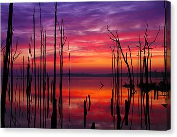 Reservoir At Sunrise Canvas Print