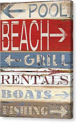 Resort Beach Sign Canvas Print by Grace Pullen