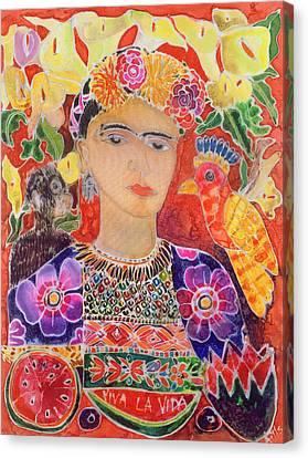 Bandana Canvas Print - Respects To Frida Kahlo, 2002 Coloured Ink On Silk by Hilary Simon