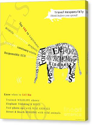 Responsible Tourism Elephant Typography Poster Canvas Print
