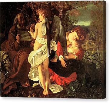 Rest On The Flight Into Egypt Canvas Print by Caravaggio
