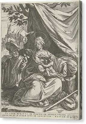 Apple Tree Canvas Print - Rest On The Flight Into Egypt, Print Maker Cornelis Cort by Cornelis Cort And Bernardino Passeri
