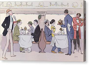 Restaurant Car In The Paris To Nice Train Canvas Print by Sem