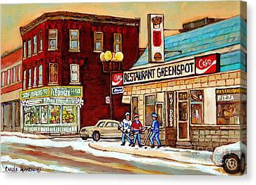 Restaurant Greenspot And Coin Vert Boutique Fleuriste Montreal Winter Street Hockey Scenes Canvas Print by Carole Spandau