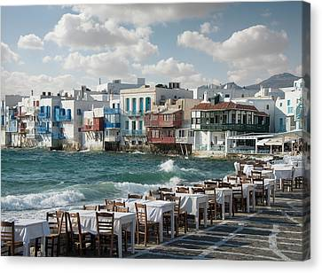 Restaurant Tables On The Mykonos Canvas Print by Ed Freeman