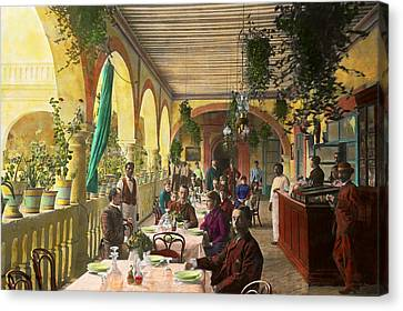Restaurant - Waiting For Service - 1890 Canvas Print