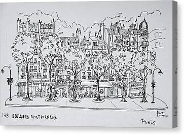 Restaurants And Apartments Line Canvas Print