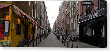 Restaurants In A Street, Amsterdam Canvas Print
