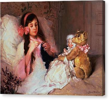 Long Bed Canvas Print - Restful Company by Gabriel Nicolet