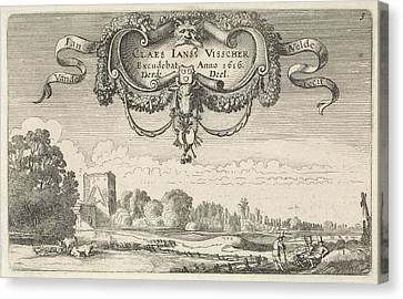 Resting Figures In A Landscape With Cows And A Tower Canvas Print by Jan Van De Velde Ii And Claes Jansz. Visscher Ii