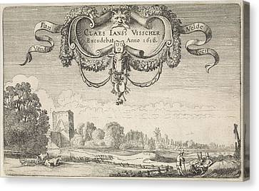 Resting Figures In A Landscape With Cows And A Tower Canvas Print by Jan Van De Velde (ii)