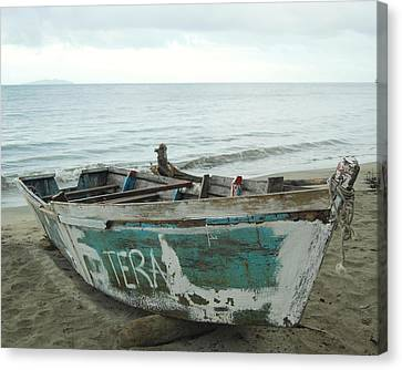 Resting Fishing Boat Canvas Print by Jocelyn Friis