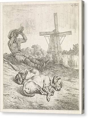 Resting Hunter With Sleeping Dogs, Wouter Johannes Van Canvas Print by Wouter Johannes Van Troostwijk