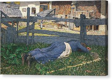Resting In The Shade Canvas Print by Giovanni Segantini