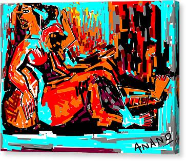 Resting Lady Canvas Print by Anand Swaroop Manchiraju