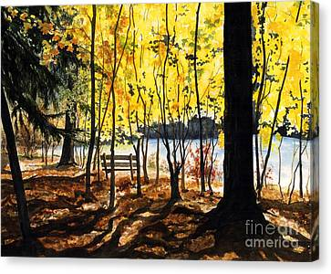 Rivers In The Fall Canvas Print - Resting Place by Barbara Jewell