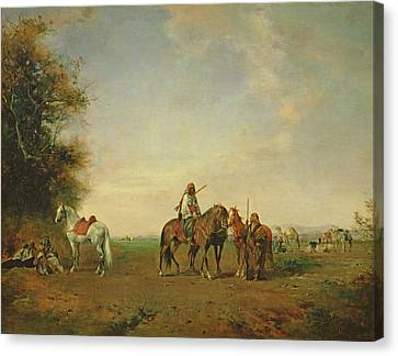 Resting Place Of The Arab Horsemen On The Plain, 1870 Canvas Print by Eugene Fromentin