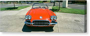 Restored Red 1959 Corvette, Front View Canvas Print by Panoramic Images