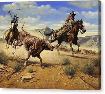 Restraint 2 Cowboys Roping A Steer Canvas Print by Don  Langeneckert