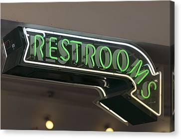 Restrooms In Neon Canvas Print