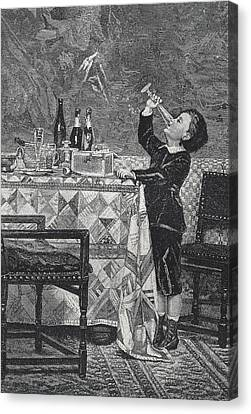 Rests Of The Feast. 1885. Engraving - � Canvas Print