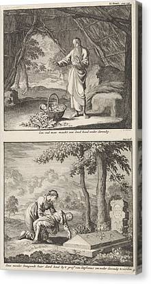 Old Cabins Canvas Print - Resurrection Of A Dead Child And A Woman Bringing Her Dead by Jan Luyken And Jacobus Van Hardenberg And Barent Visscher
