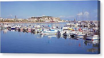 Rethymnon Marina Panorama Canvas Print by Paul Cowan