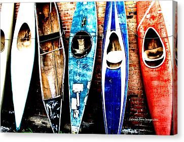 retired Kayaks Canvas Print by Rebecca Adams