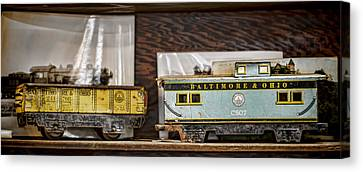Retired Trains Canvas Print by Heather Applegate
