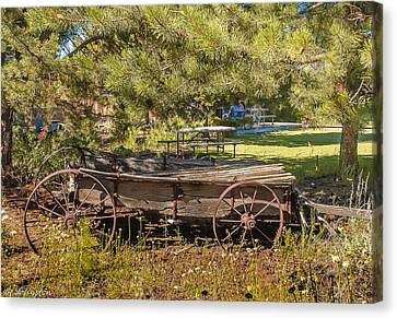 Retired Wagon At Thousand Trails Canvas Print by Bob and Nadine Johnston