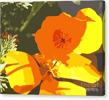 Retro Abstract Poppies Canvas Print by Artist and Photographer Laura Wrede