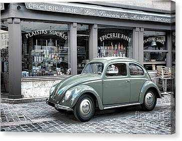 Retro Beetle Canvas Print by Olivier Le Queinec
