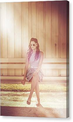 Retro Bus Stop Pin Up Girl Canvas Print by Jorgo Photography - Wall Art Gallery