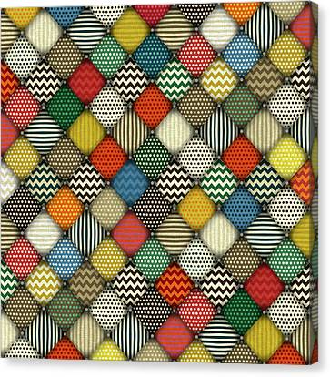Retro Buttoned Patches Canvas Print by Sharon Turner