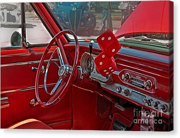 Canvas Print featuring the photograph Retro Chevy Car Interior Art Prints by Valerie Garner