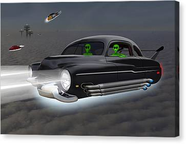 Retro Flying Objects 4 Canvas Print by Mike McGlothlen