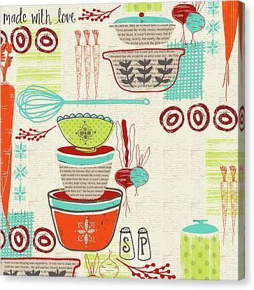 Retro Kitchen Canvas Print by Katie Doucette
