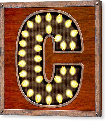 Retro Marquee Lighted Letter C Canvas Print by Mark Tisdale